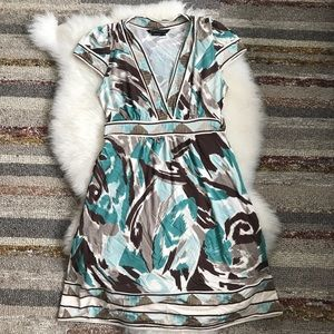 *NWOT* BCBGmaxazria Teal and brown jersey dress